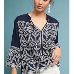 Anthropologie seen worn kept embroidered blouse